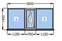 Окно 3000 х 1400