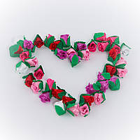 Розочки из атласа, Микс 5 цветов. Сделано в Украине!