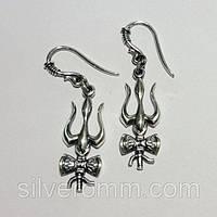 Серебряные серьги Трезубец Шивы