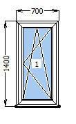 Окно  700 х 1400