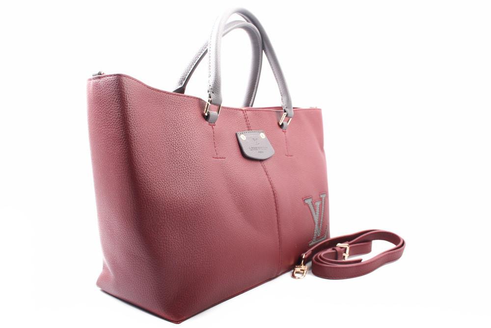 Сумка женская Louis Vuitton, эко-кожа, цвет бордо, размер большой, прямоугольная форма