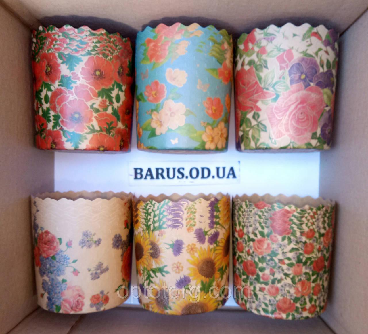 Бумажные формы для выпечки оптом 130*85 микс Цветы