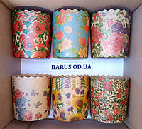 Бумажные формы для выпечки оптом 90*85 микс Цветы