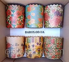 Бумажные формы для выпечки оптом 70*85 микс Цветы