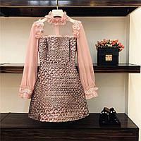 Платье нарядное с кружевом стрейч атлас плотный и шифон
