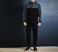 Мужской спортивный костюм Nike черный на молнии найк / Костюм Nike капюшон черный т.серые плечи