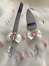 """Нож и лопатка для свадебного торта """"Розовый кристалл"""""""