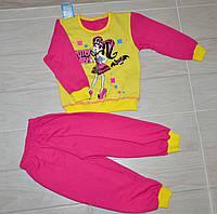 Красивая теплая пижама с начесом для девочки  с аппликацией 28 размера .
