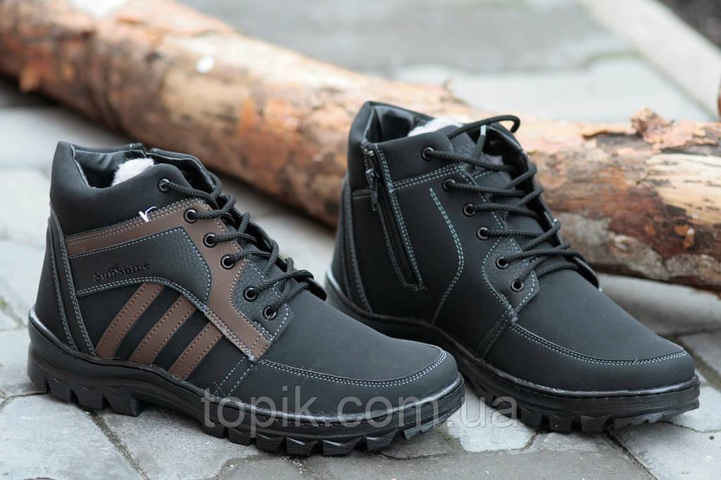 Ботинки зимние синтетическая кожа нубук мужские черные Львов (Код: 195) Только 40р!, фото 1