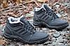 Кроссовки ботинки полуботинки искусственная кожа зимние мужские полушерсть прошиты черные (Код: 232)