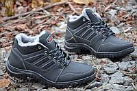 Кроссовки ботинки полуботинки искусственная кожа зимние мужские полушерсть прошиты черные (Код: 232), фото 1