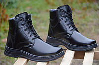 Ботинки зимние мужские черные искусственная кожа прошиты Львов (Код: 243)