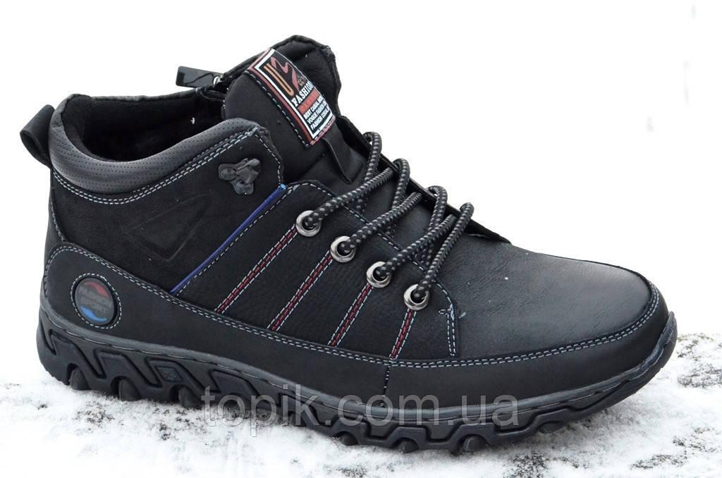 Ботинки полуботинки кроссовки зимние мужские черные на молнии Fashion (Код: 297а). Только 40р!