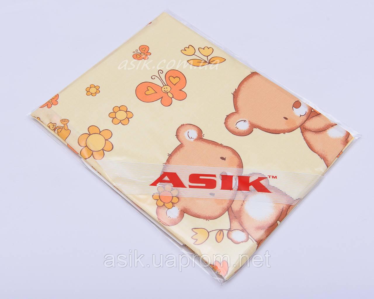 Простынь в детскую кроватку «Мишка с цветочком» желтого цвета (120*60)