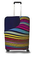 Чехол для чемодана Coverbag волны S желто-розовый