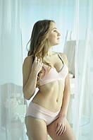 306812 Белье для кормящих хлопковое розовое с серым 70В