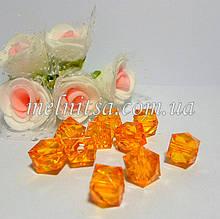 Бусины пластиковые, прозрачные, граненный квадрат, 10х10 мм, 10 шт., цвет желтый.