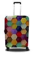Чехол для чемодана Coverbag шестиугольник S желто-розовый