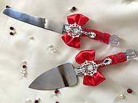 """Нож и лопатка для торта """"Красный бант"""""""