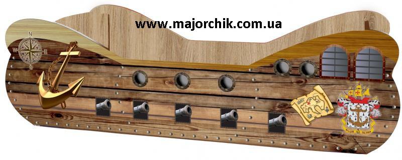 Кровать Корабль для мальчиков Черная Жемчужина корабель пиратский Black Pearl