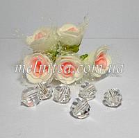 Бусины пластиковые, прозрачные, граненные, круглые, 10 мм, 10 шт.