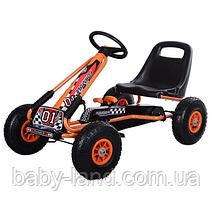 Детская педальная машина веломобиль Карт M 0645-7 оранжевый