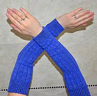 Турецкие нарядные женские митенки небесно-синего цвета 38 см