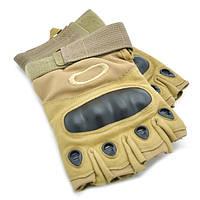 Тактические беспалые перчатки Oakley тан, песок