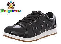 Стильные туфли для девочек Шалунишка черные  Размеры: 31-36