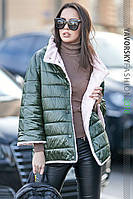 Курточка двухсторонняя Шерами хаки + розовый