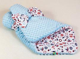 Конверт - одеяло на выписку демисезонный двухсторонний от производителя BabySoon Морячок 80 х 85 см голубой