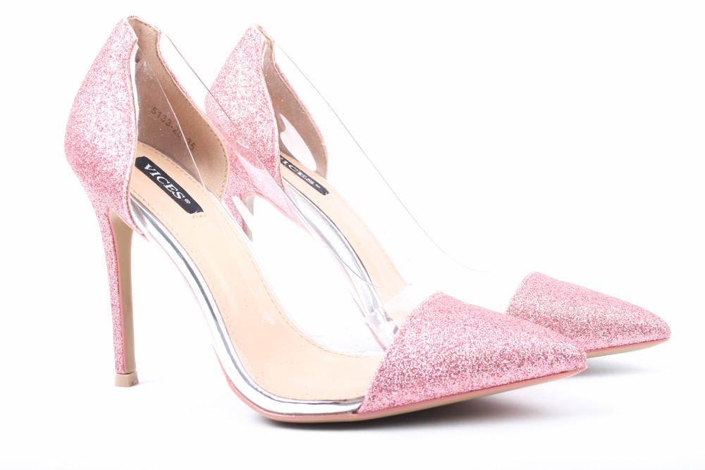 Туфли женские Vices эко-кожа, цвет розовый блеск (каблук, шпилька, модельные, Польша)