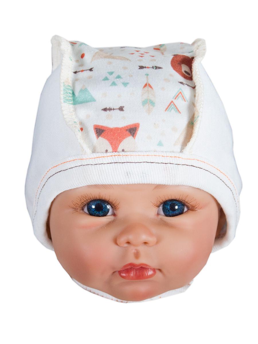 Чепчики шапочки для малышей на завязках FOREST 40 размер