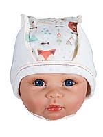 Чепчики шапочки для малышей на завязках FOREST 40 размер , фото 1