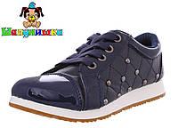 Стильные туфли для девочек Шалунишка синие  Размеры: 31-36
