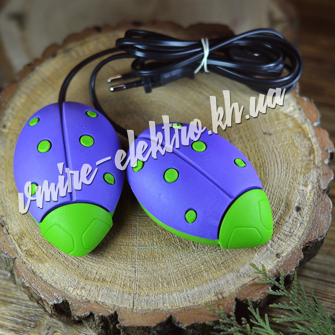 Сушарка для взуття Сонечко фіолетова з зеленими точками