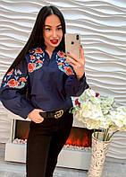 Красивая свободная блуза с вышивкой на пуговицах синяя, белая