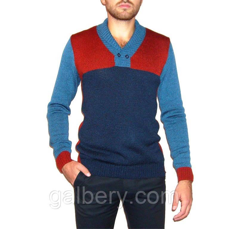 Вязаный мужской свитер с шалевым воротником: продажа, цена ...