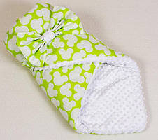 Детский конверт - одеяло на выписку двухсторонний демисезонный размер 80 х 85 см салатовый ТМ BabySoon