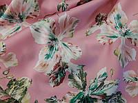 Ткань шелк армани на розовом лотос мятный