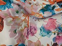 Ткань шелк армани принт разводы листья, фото 1