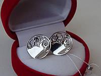 Срібні сережки з красивим візерунком, фото 1