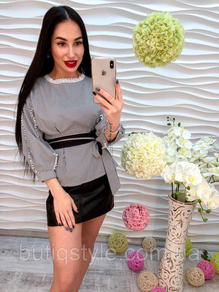 Стильная женская котоновая белая рубашка блузка с поясом только черная
