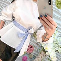 Стильная женская котоновая белая рубашка блузка с поясом белая, черная. клетка