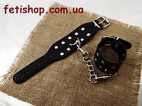 Черные наручники с заклепками для БДСМ игр из искуственой кожи