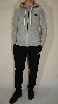 Утепленный мужской трикотажный спортивный костюм Nike (найк) - серый/черный, фото 2