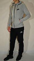 Утепленный мужской трикотажный спортивный костюм Nike (найк) - серый/черный, фото 3