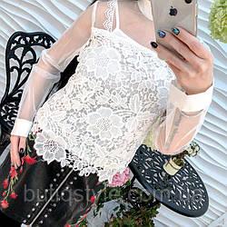 Модная женская блуза гипюр чёрная, беж. белая