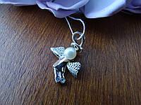 """Срібний підвіс """"Ангел"""" з золотою вставкою і перлами, фото 1"""