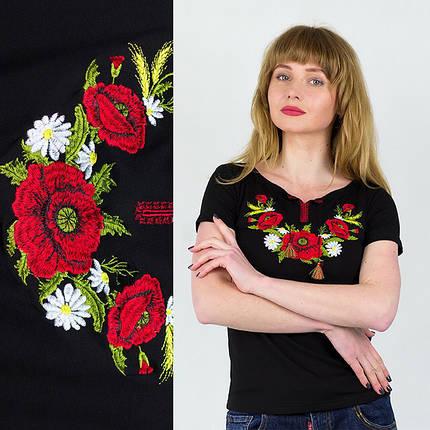 Женская трикотажная футболка с вышивкой Маки, фото 2